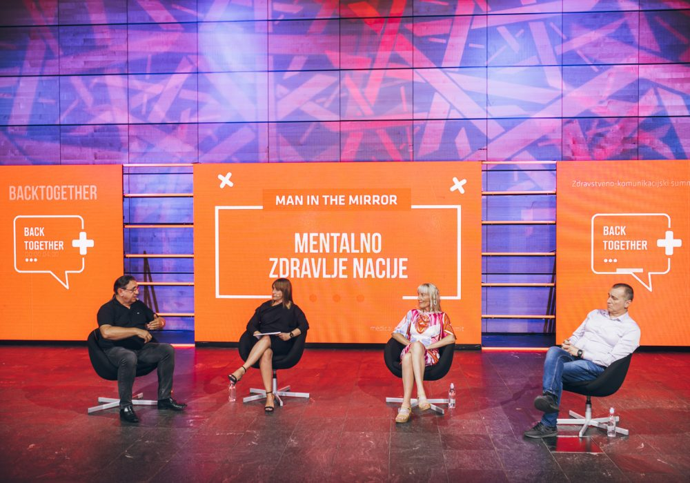 Panel rasprava Man in the Mirror_Mentalno zdravlje nacije_Veljko Đorđević_Moderator Ana Čerenšek_Marijana Braš_Hrvoje Handl